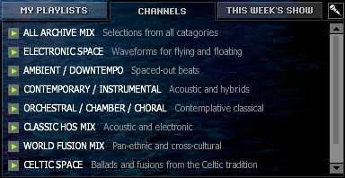 Flash player Channels menu